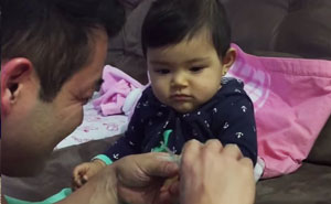 Baby Girl Pranks Dad With Fake Crying When He Tries To Cut Her Nails