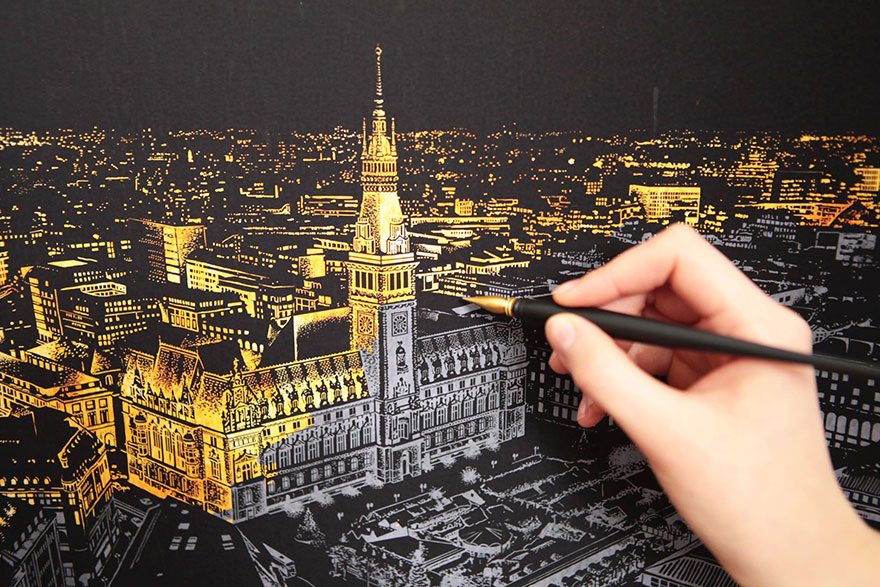 Coloring Scratch Board Night View Lago Design on Latest Best Writing Pen