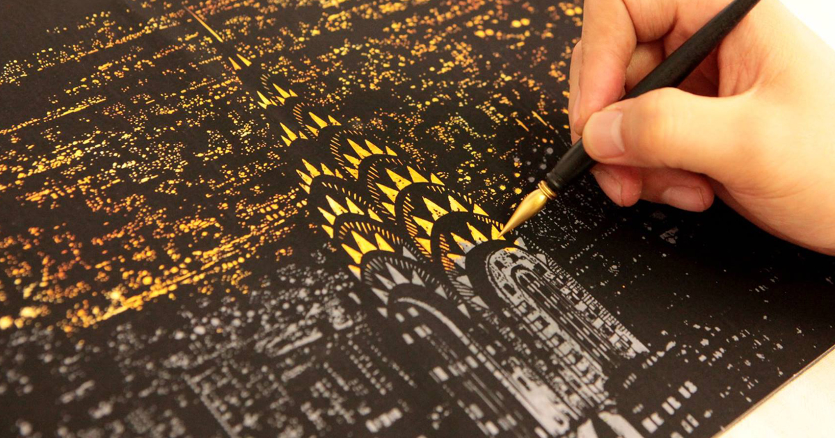 Coloring Book Alternative Lets You Scratch Off Surface To Reveal Beautiful Nightscapes