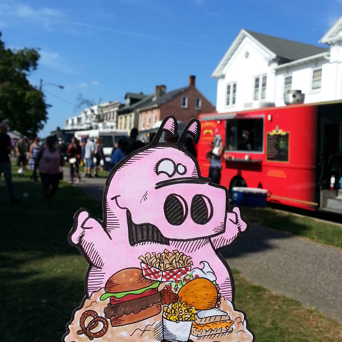 Beagle And Pig Experience A Food Truck Festival.