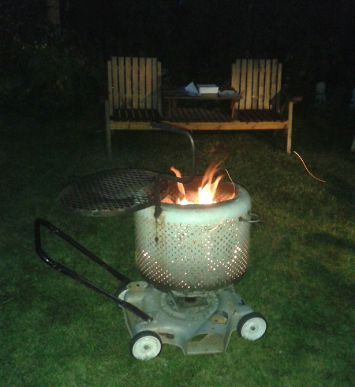 Lawnmower + Washing Machine Drum = Perfect Fireplace