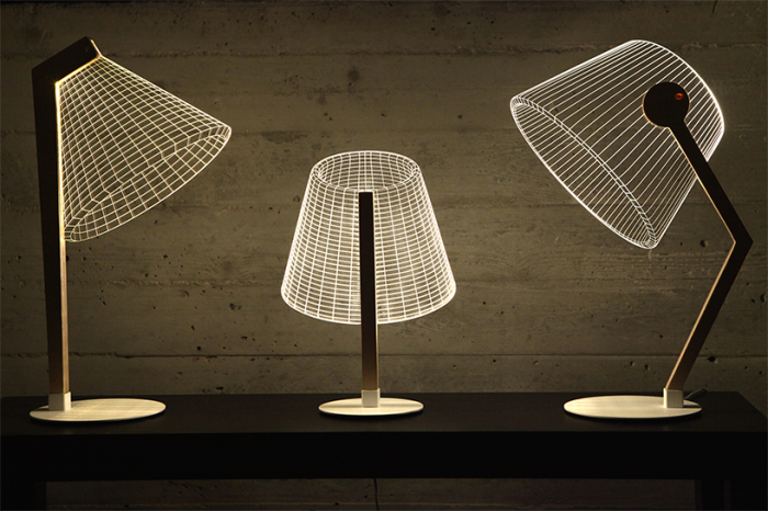 We Made Flat 2D Lamps That Create 3D Optical Illusions When Lit Up