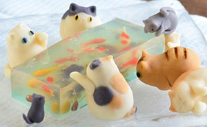 Candy Cats Trying To Catch Goldfish Stuck In Jelly Created By Mother-Daughter Duo