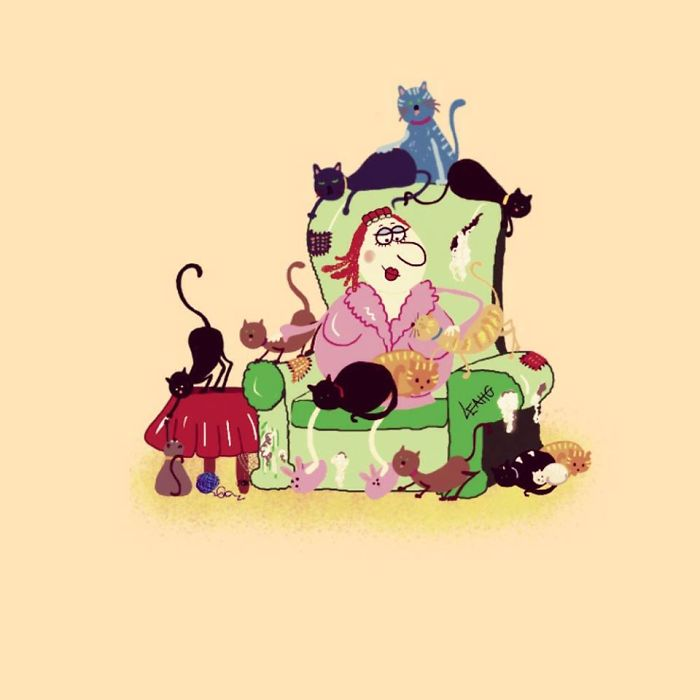 Funny Cat Lady Cartoon By Leahg