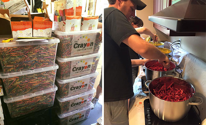 Dad Finds Brilliant Way To Reuse Leftover Crayons From Restaurants And Schools