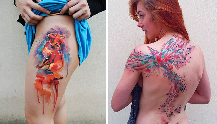One Day, One Tattoo: Czech Artist Makes Sure Each Watercolor Tattoo Is Perfect