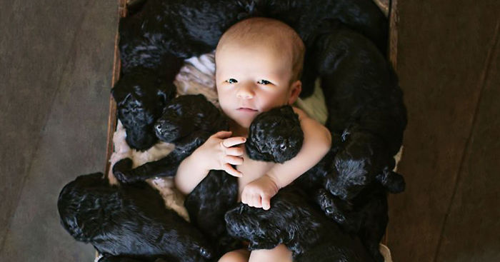 Human And Her Dog Had Babies On The Same Day So They Did An