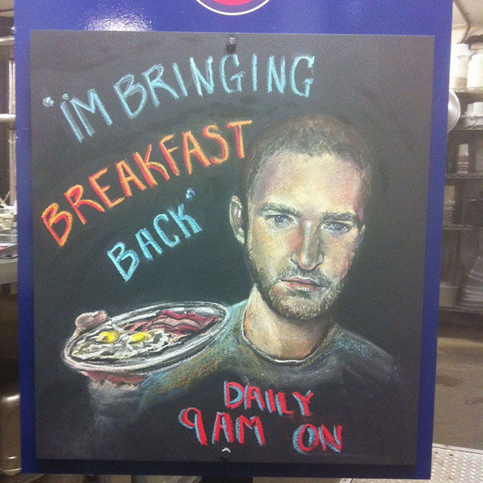 My Roommate Made This Chalkboard Sign For The Restaurant She Works At