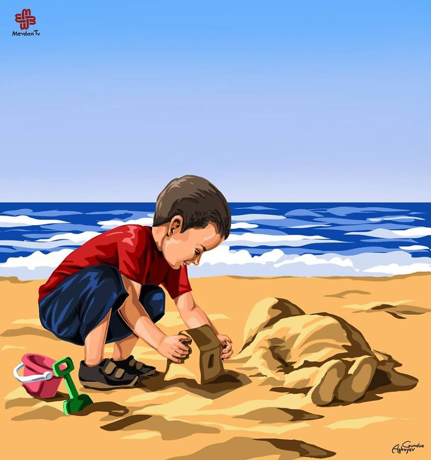 gege__880 - Artists react to the Syrian refugee boy who drowned - World Daily News