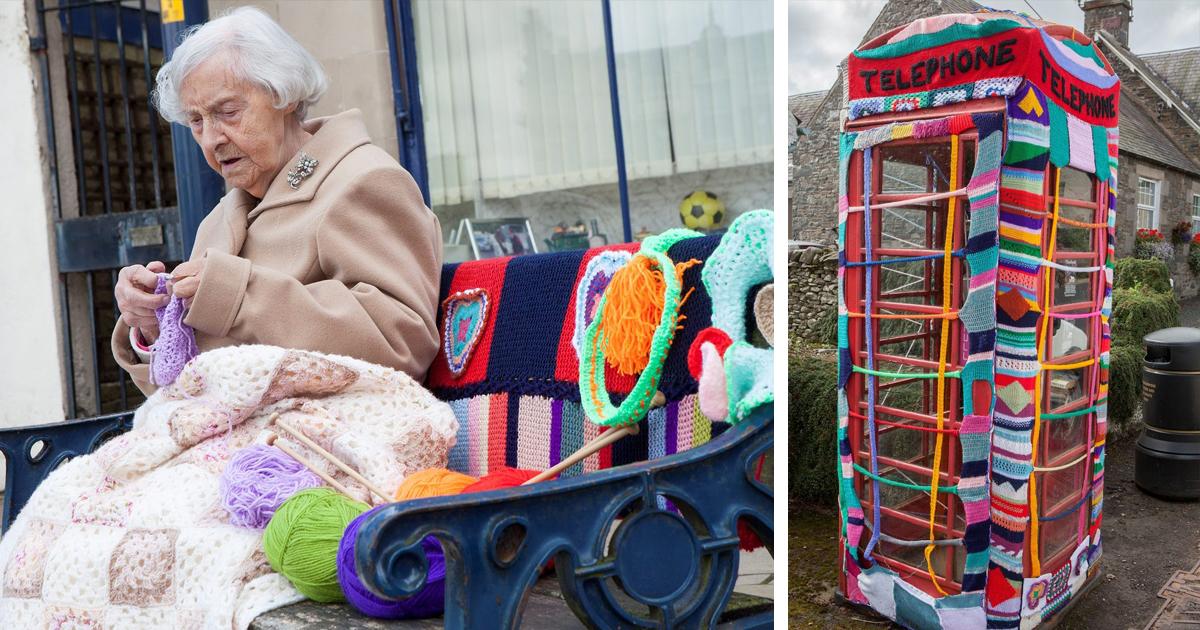 104-Year-Old Street Artist Yarn-Bombs Her Town