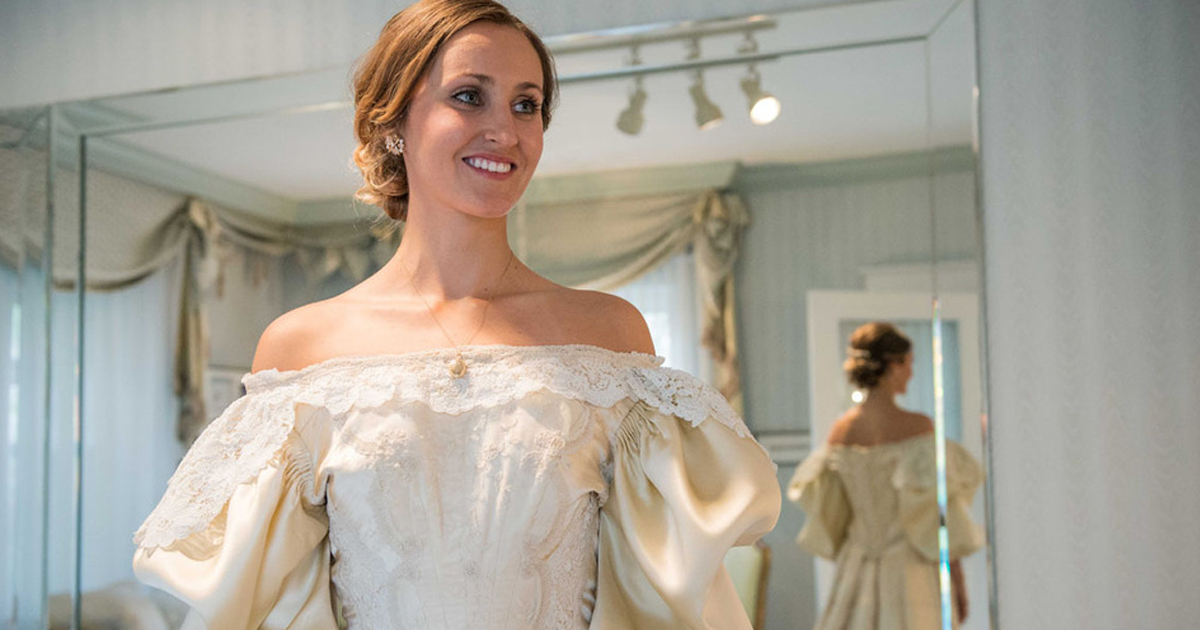 Bride is 11th woman in her family to wear 120 year old for Wedding dress for 50 year old bride