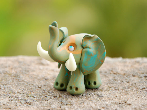 Marbled Elephant Figurine