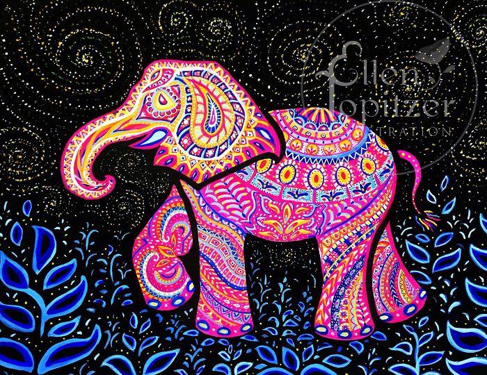 Elephant Print By Ellen Topitzer