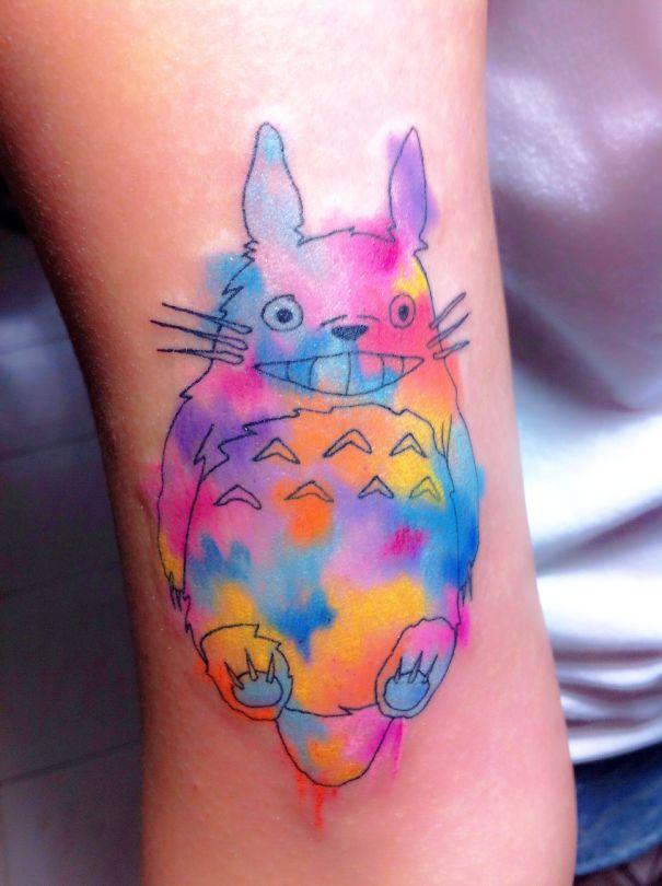 My Watercolor Effect Totoro Tattoo
