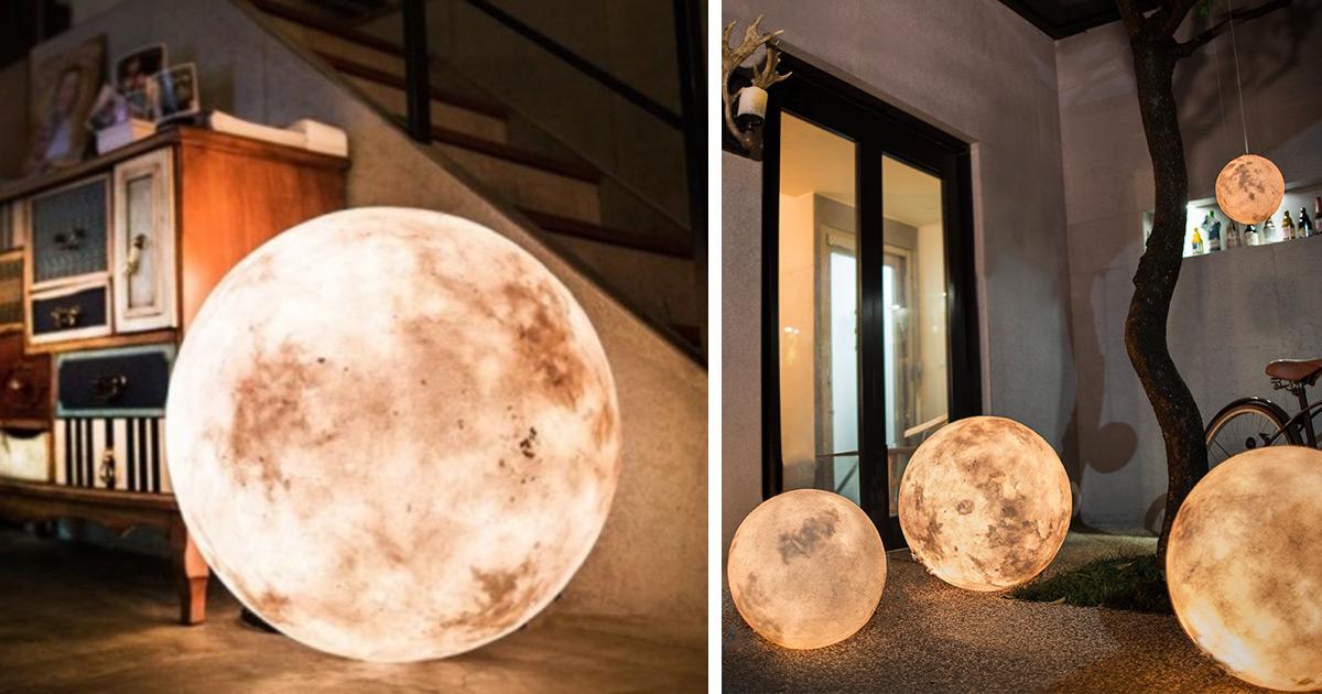 Luna Lamp Brings The Moon Into Your Room Bored Panda
