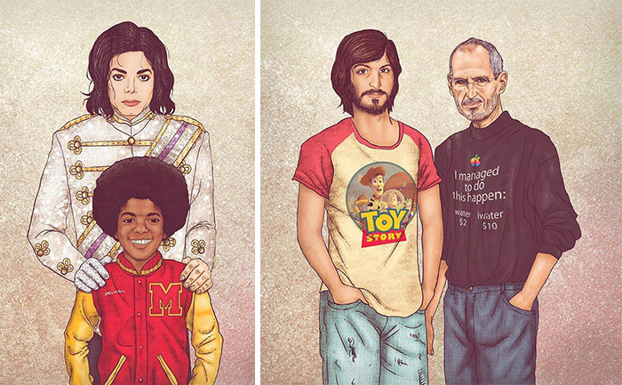 Before & After: Old Celebrities With Their Younger Selves By Fulvio Alejandro