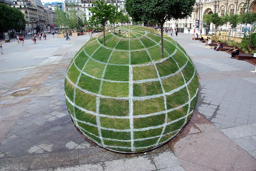 3d Grass Globe Illusion At Paris City Hall