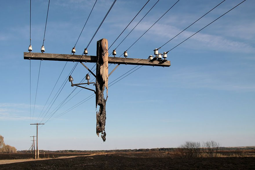 Burned-Out Utility Pole