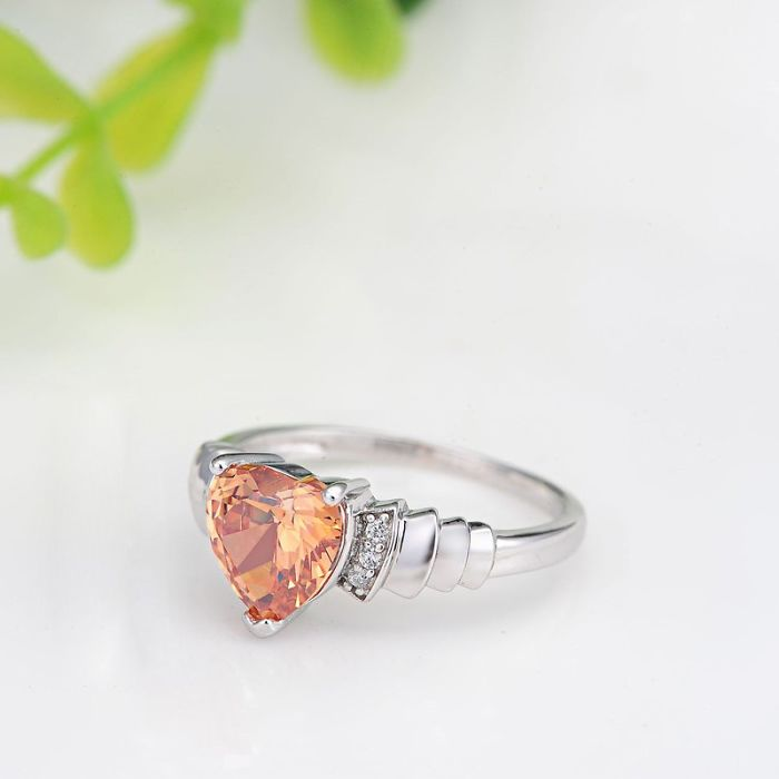 Pink Heart Silver Promise Ring