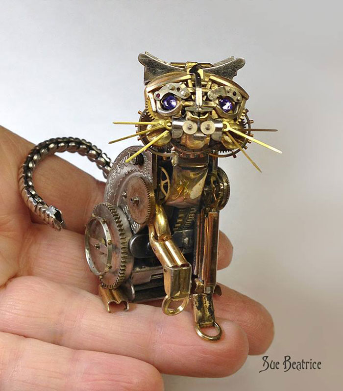 Old Watch Parts Recycled Into Steampunk Sculptures By