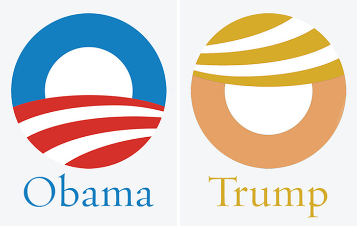 Just Noticed How Well The Obama Logo Works For Trump With Some Simple Color Changes And Rotation