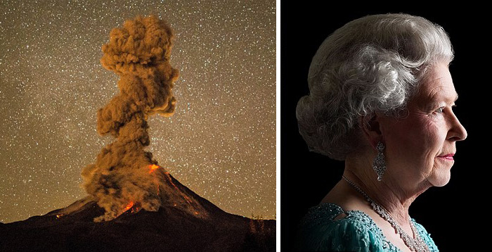 This Volcanic Plume Of Ash Looks Like A Silhouette Of The Queen Elizabeth Ii