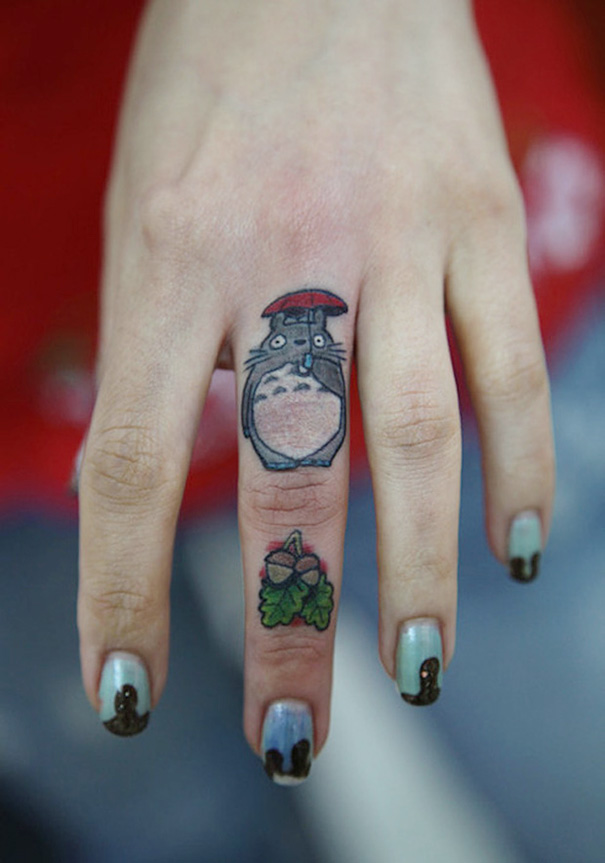Totoro Finger Tattoo