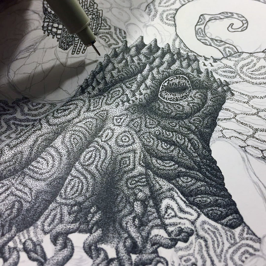 millions of dots form intricate pen drawings to raise environmental