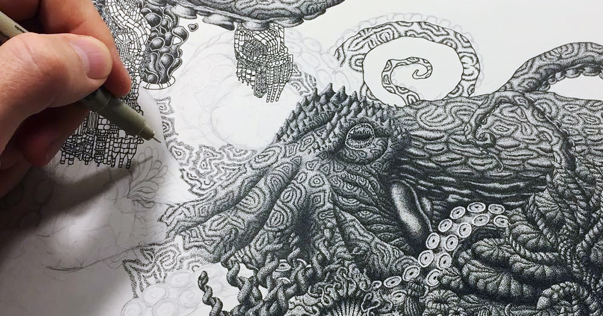Millions Of Dots Form Intricate Pen Drawings To Raise Environmental Awareness
