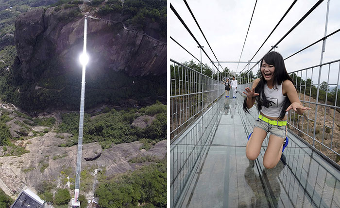 World's Longest Glass Bridge, 590ft High, Opens In China – Tourists Too Scared To Walk It