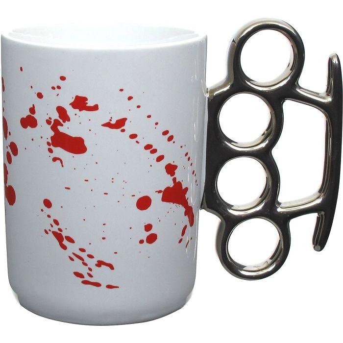 Brass Knuckle Coffee Mug With Blood Splatter
