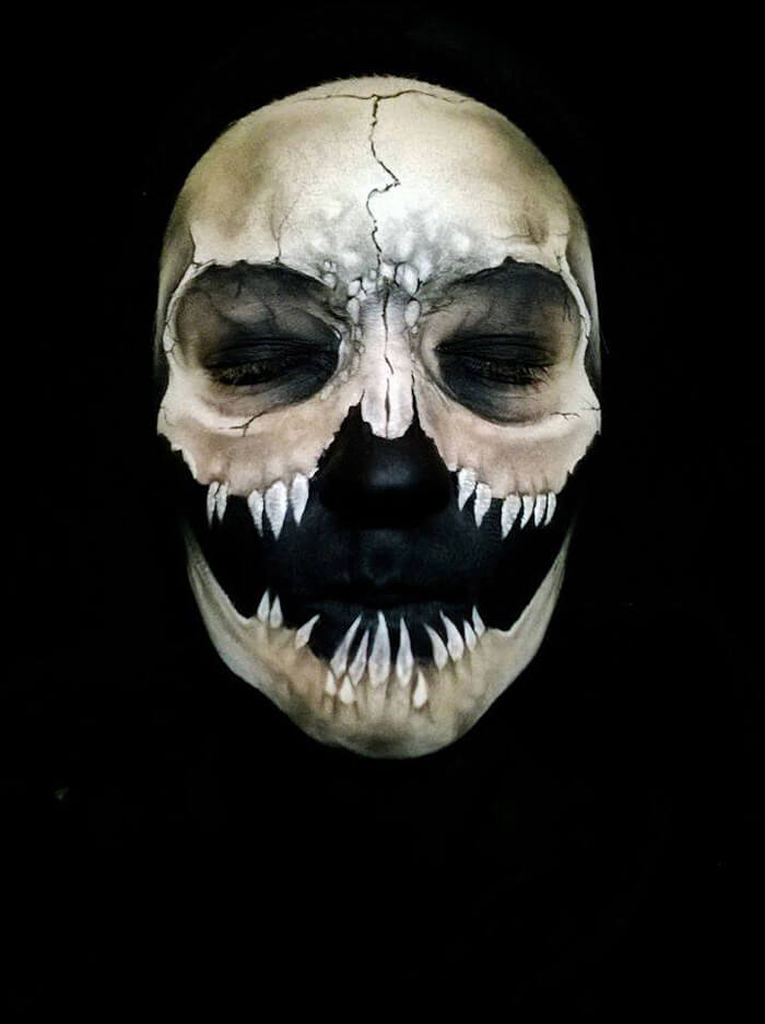 self taught artist paints terrifying monsters on faces bored panda