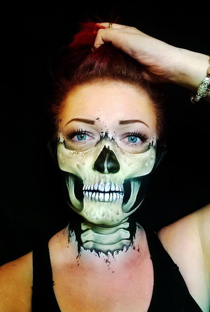self taught artist paints terrifying monsters on faces bored panda - Scary Faces For Halloween With Makeup