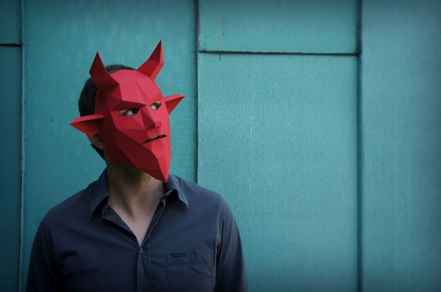 DIY Geometric Paper Masks For Halloween