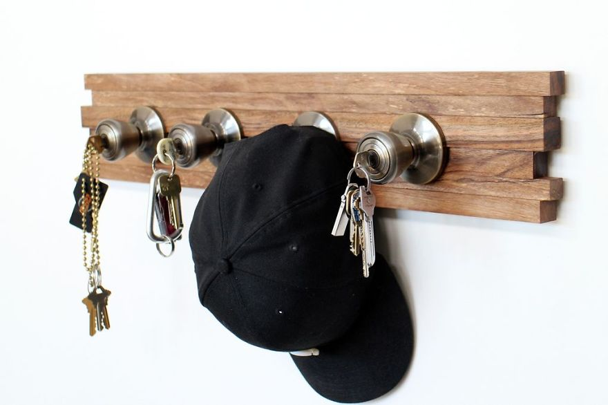 Wood hat rack wall