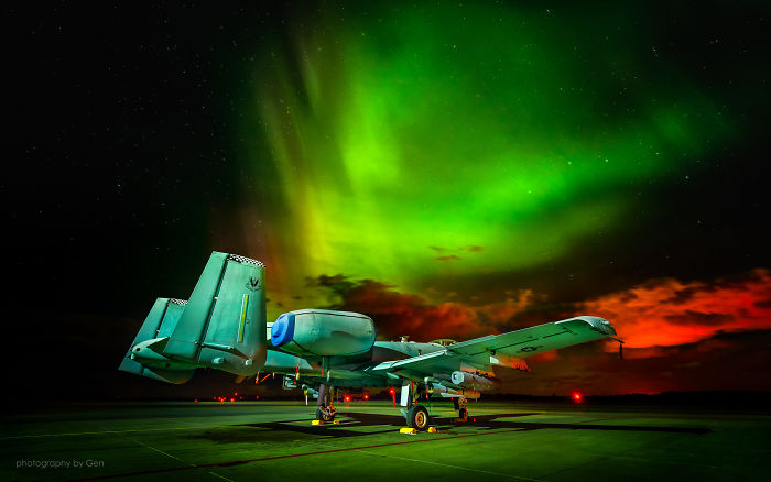 A-10 Warthogs Under The Aurora Borealis In Estonia