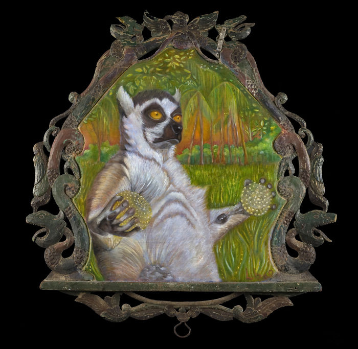 I Paint Creatures And Frame Them In Antique Bird Perches