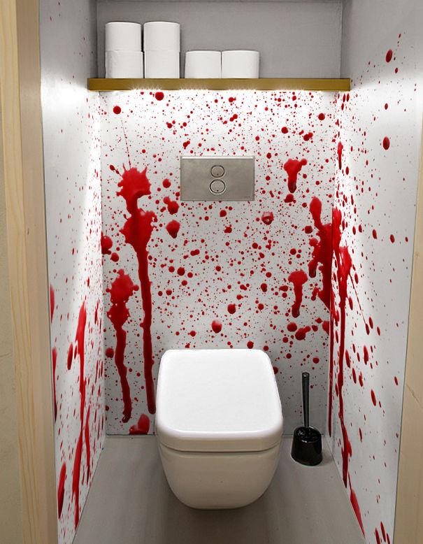 Blood splatter sticker in a toilet bored panda for Bloody wall mural