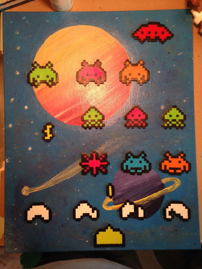 Perler Pixel Painting Of Retro Games