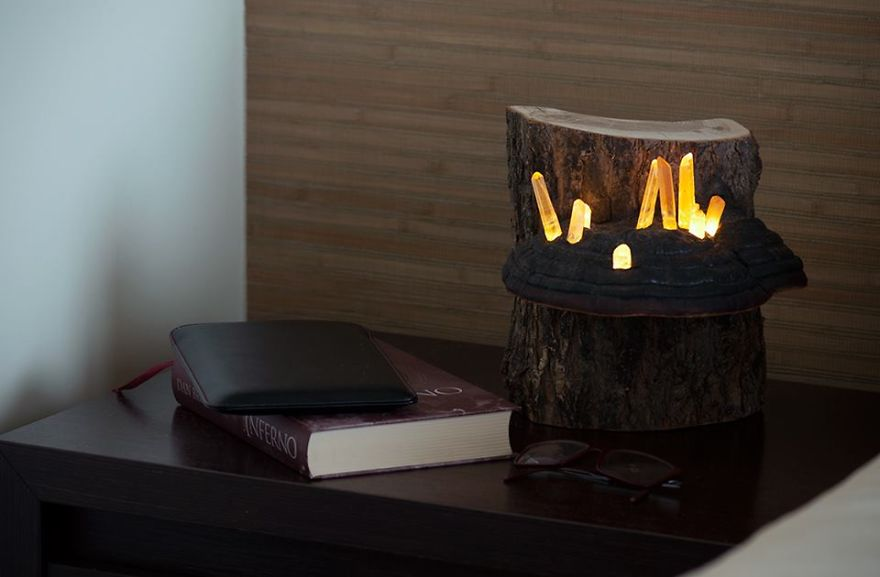We Create Night Lamps Out Of Hand-Picked Crystals, Fallen Timber And ...