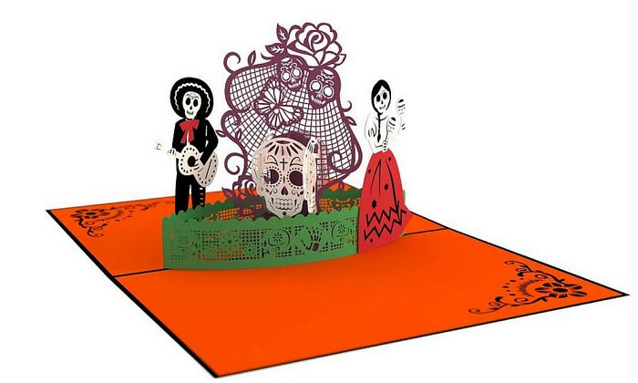 Colorful Day Of The Dead Pop Up Card