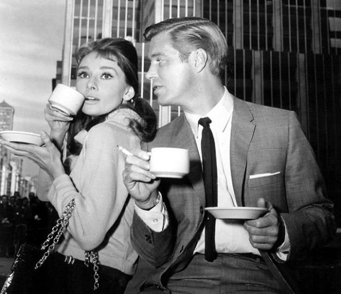 Audrey Hepburn And George Peppard Filming Breakfast At Tiffany's In New York, 1960.