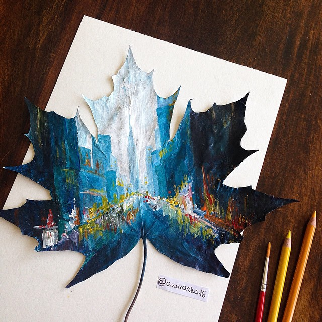 Self-Taught Polish Artist Uses Fallen Autumn Leaves As Canvases For Her Paintings