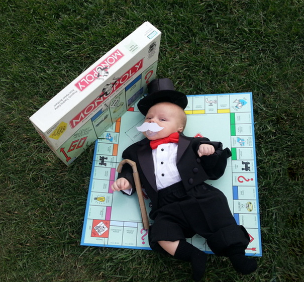 Our Baby Camden, 6.5 Weeks Old, Is Celebrating His First Halloween As Mr. Monopoly