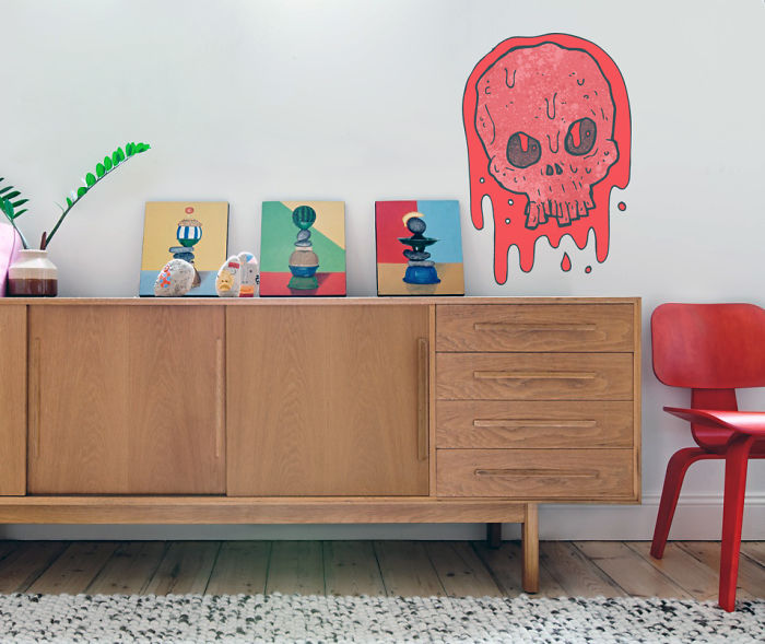 Cartoon Bloody Skull Wall Decal To Decorate A Room
