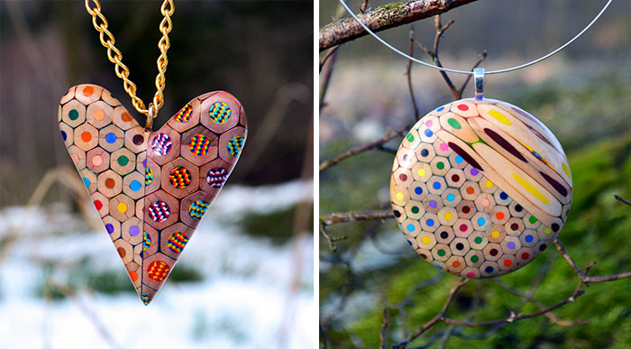 Jewelry Made From Coloured Pencils By Czech Artist