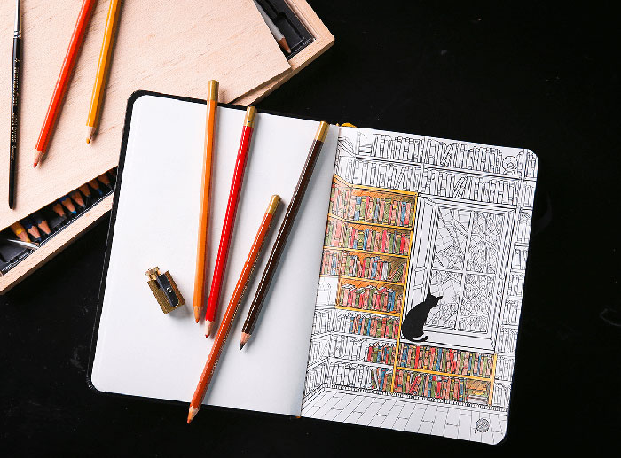 Coloring Notebook With Beautiful Coloring Pages Helps Adults Relax