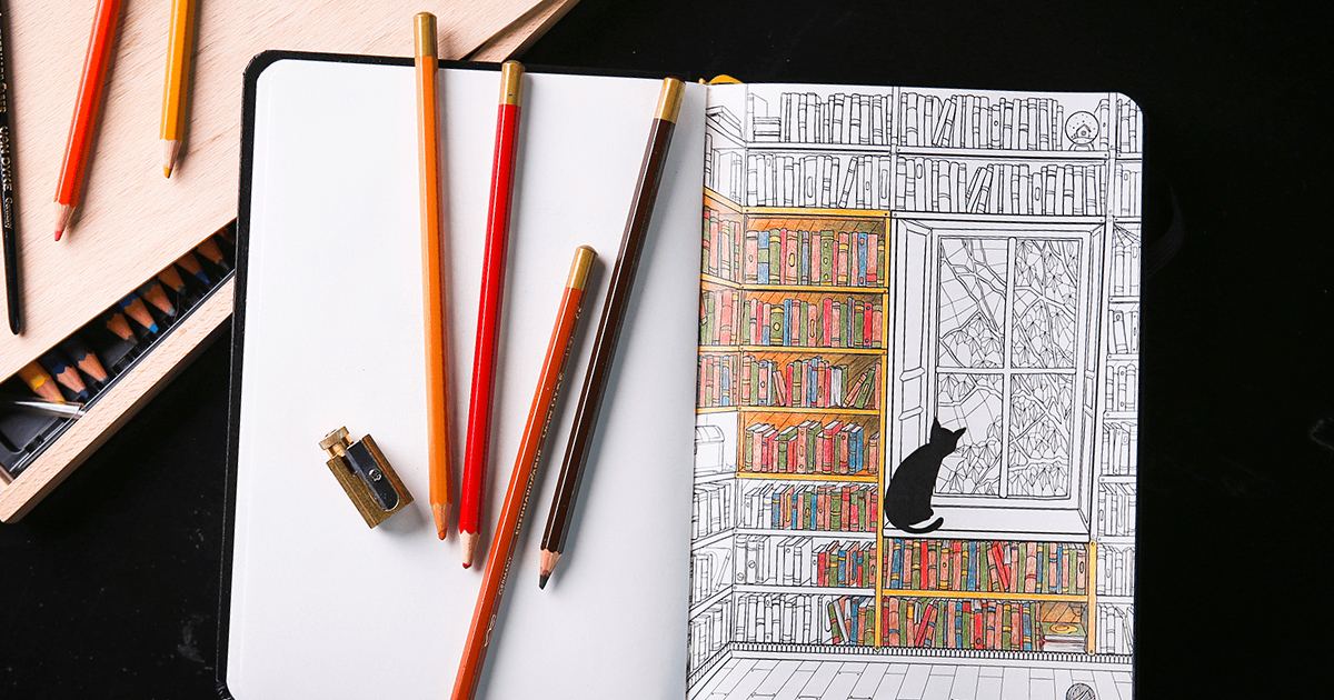 Coloring Notebook With Beautiful Pages Helps Adults Relax