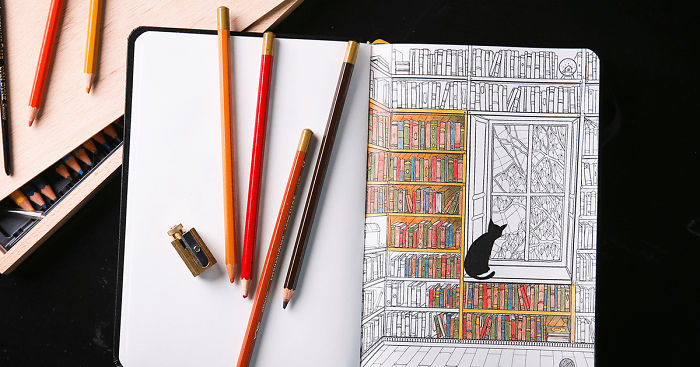 Coloring Notebook With Beautiful Coloring Pages Helps Adults Relax ...
