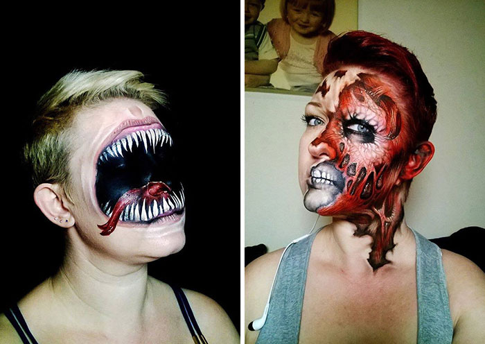 Self-Taught Artist Paints Terrifying Monsters On Faces